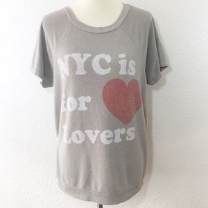 Wildfox Grey NYC Is For Lovers Short Sleeve Jumper